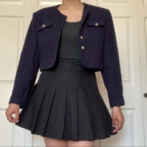 Navy Blue Cropped Blazer With Gold Buttons   Size